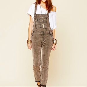 Free People Grey Corduroy Overall Pants